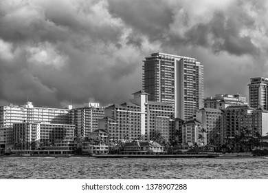 Honolulu, Hawaii, USA.  Apr. 24, 2019.  Urban density in Waikiki as new and taller buildings are build on the shoreline.