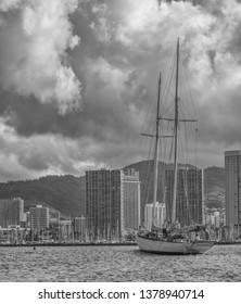 Honolulu, Hawaii, USA.  Apr. 24, 2019.  Sailing schooner and crew entering Waikiki at the Ala Wai Harbor after a voyage around the world.