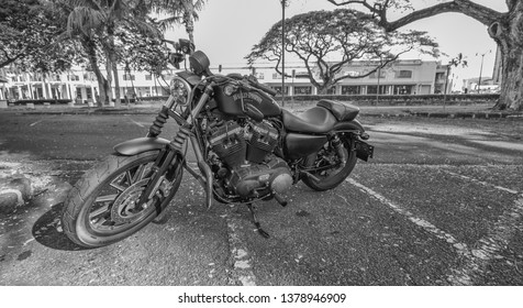 Honolulu, Hawaii, USA.  Apr. 24, 2019.  Restored street bike motorcycle in tones of black and white.