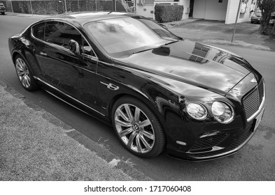 Honolulu, Hawaii, USA.  Apr.  28, 2020.  Luxurious Foreign Coupe with sleek lines in tones of black and white.