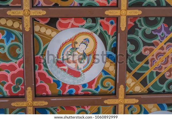 Honolulu, Hawaii, USA.  April 3, 2018.  Antique Asian ceiling decor At the Makiki Buddhist Temple.