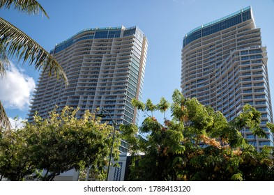 Honolulu, Hawaii, USA.  Aug. 2, 2020.  Quarantined Ritz Carleton Hotel in Waikiki as the statewide lockdown for the corona virus outbreak continues.