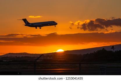 Honolulu, Hawaii, USA - August 17, 2018: Honolulu's Daniel K. Inouye International Airport is one of the world's largest, busiest and most beautiful airports.