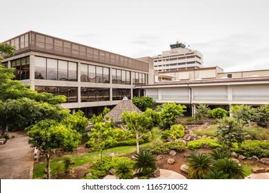 Honolulu, Hawaii / USA - August 26, 2018: Cultural gardens at Daniel K. Inouye International Airport show Asian influence on Hawaiian culture.