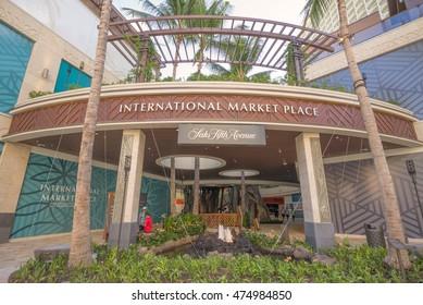 Honolulu, Hawaii, USA, August 29, 2016:  The new International Market Place Waikiki  with overcast skies above.