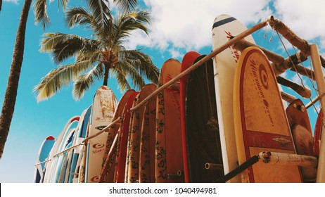 Honolulu, Hawaii, Usa - Circa February 2017: Many different surfboards standing on a board rack with the palm tree in the background over a blue sky by Darko Markovic