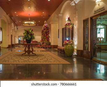 Honolulu, Hawaii, USA, Dec. 24, 2017:  New Christmas holiday decor at the historic Royal Hawaiian Hotel on Waikiki Beach.