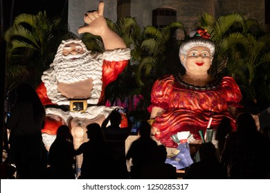 Honolulu, Hawaii / USA - December 1, 2018: Honolulu city lights opening night festival and parade at Honolulu Hale to welcome Christmas and holiday seasons