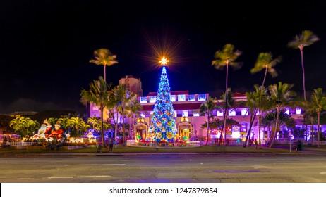 Honolulu, Hawaii, USA - December 2, 2018:  Honolulu City Lights is a month long Christmas lights and decorations display at Honolulu Hale.