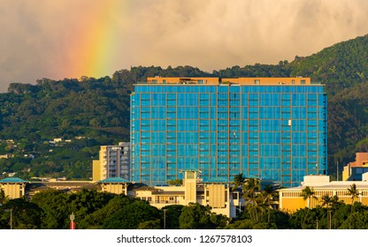 Honolulu, Hawaii, USA - December 22, 2018: Adjacent to the Ala Moana Shopping Center, One Ala Moana is a residential tower built in 2014.