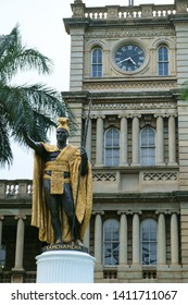Honolulu, Hawaii / USA - February 13th 2013: A statue of King Kamehameha in front of Honolulu city hall