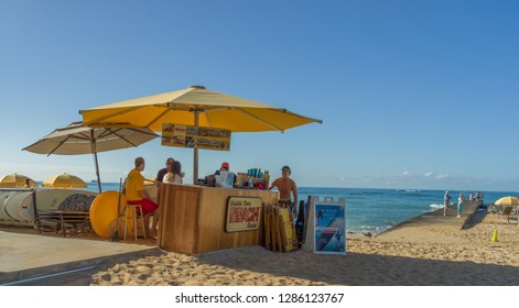 Honolulu, Hawaii, USA.  Jan. 16, 2019.  Beach concession stand on the shoreline in Waikiki.