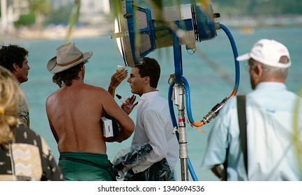 "Honolulu, Hawaii, USA, July 20, 1999  First day of filming ""BayWatch Hawaii.  Jeremy Jackson on the set of ""Baywatch Hawaii"" prior to filming the wedding scene. Gets a little make up touch up."