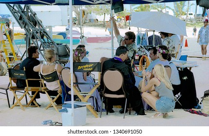 "Honolulu, Hawaii, USA, July 20,1999  First day of filming ""BayWatch Hawaii.  David Hasselhoff, Jeremy Jackson, Brooke Burns, on a break from filming the wedding scene on the set of ""Baywatch Hawaii"""