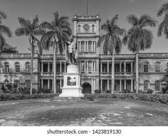 Honolulu, Hawaii, USA.  June 14, 2019.  State Supreme Courthouse in the Historical District with Hawaiian Kamehameha statue in front.