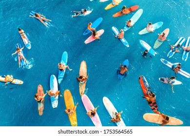 Honolulu, Hawaii, USA June-6-2020: Paddle out at Hawaii, protesters on surfboards in the ocean for support activists to justice of Black lives matter.