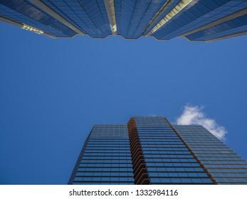 Honolulu, Hawaii, USA.  Mar. 8, 2019.  Blue Sky Above Honolulu Skyscrapers.  Clear morning in downtown Honolulu as new buildings grow taller.
