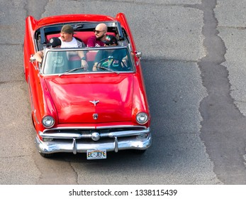 Honolulu, Hawaii, USA - March 10, 2019: The 1954 Ford Crestline Sunliner convertible was a pivot point for its manufacturer.