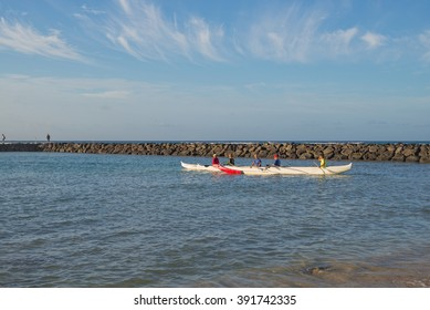 Honolulu, Hawaii, USA, March 16, 2016:  Morning view of  the 2016 Opening Day for outrigger canoe paddlers  in Waikiki.