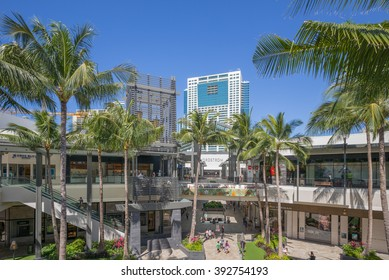 Honolulu, Hawaii, USA, March 19, 2016:  Morning view of the opening day for the expanded Ala Moana Shopping Center.