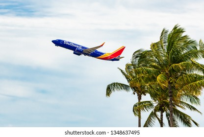 Honolulu, Hawaii, USA - March 24, 2019: Southwest Airlines entered the Hawaii market this month with roundtrip flights from Oakland, CA to Honolulu, HI.