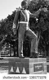 Honolulu, Hawaii, USA. May 1, 2019.  New statue of King Kamehameha III at Admiral Thomas Park.