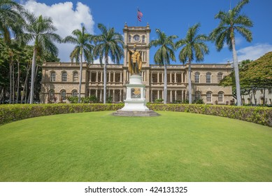 Honolulu, Hawaii, USA, May 21, 2016:  Morning view of the refurbished King Kamehameha  Statue with the Hawaii Supreme Court in the background.