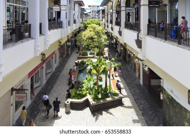 Honolulu, Hawaii, USA - May 24, 2017: Ala Moana Center: Inside of the Ala Moana Center. Ala Moana Center, located at 1450 Ala Moana Boulevard in Honolulu, is the largest shopping mall in Hawaii.