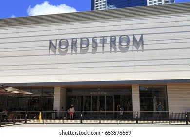 Honolulu, Hawaii, USA - May 24, 2017: Nordstrom: Nordstrom facade in Ala Moana Center. Nordstrom is a well known luxury department store chain.