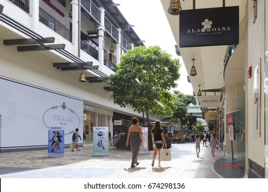 Honolulu, Hawaii, USA - May 28, 2017: Ala Moana Center: Inside of the Ala Moana Center. Ala Moana Center, located at 1450 Ala Moana Boulevard in Honolulu, is the largest shopping mall in Hawaii.