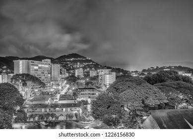 Honolulu, Hawaii, USA.  Nov. 10, 2018.  Night time lapse of the Manoa Valley in Black and White.