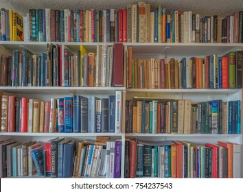Honolulu, Hawaii, USA, Nov. 13, 2017:  Home library with books on science and literature in a colorful arrangement for use as wallpaper.