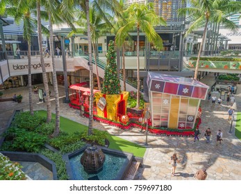 Honolulu, Hawaii, USA, NOv. 21, 2017.  Christmas holiday decorations are up at the new extension for the Ala Moana Shopping Center.