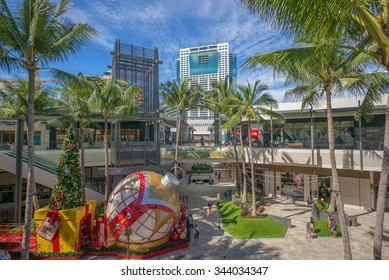 Honolulu, Hawaii, USA, Nov. 26, 2015:  Morning view of the new Eva wing of Ala Moana Shopping Center.  The new and expanded Ala Moana Center is the largest shopping mall in Hawaii.