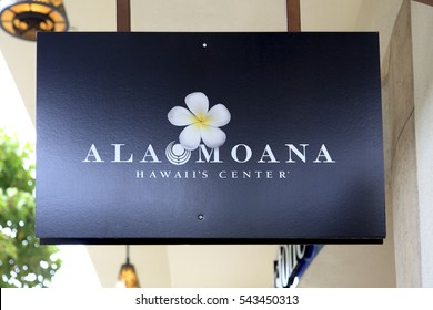Honolulu, Hawaii, USA - November 25, 2016: Ala Moana Center: A signboard of the Ala Moana Center. Ala Moana Center is the largest shopping mall in Hawaii.