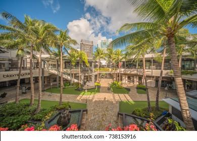 Honolulu, Hawaii, USA, Oct. 20, 2017:  Modern shopping center construction at the expanded Ala Moana Regional Shopping Center in Waikiki.