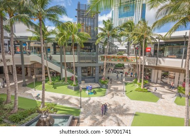 Honolulu, Hawaii, USA, Oct. 31, 2016:  Morning panorama of the new Ala Moana Shopping Center extension with a blue sky backdrop.