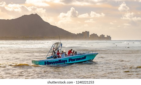 Honolulu, Hawaii, USA - October 27, 2018: In business since 1977, Hawaiian Parasail is Honolulu's original Parasailing company.