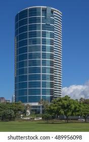 Honolulu, Hawaii, USA, Sept. 28, 2016:  Profile view from Ala Moana Regional Park of a new adjacent condominium.