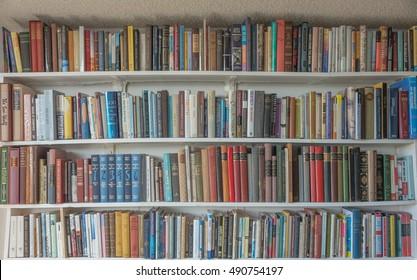Honolulu, Hawaii, USA, Sept. 30, 2016:  A wall of books on white shelves.