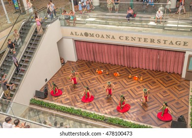 Honolulu, Hawaii, USA, Sept. 4, 2016:  Colorful traditional hula dance at the new Ala Moana Shopping Center.