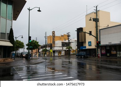 Honolulu, Hawaii, USA-May 5, 2015: The Kaimuki neighborhood of Honolulu, Hawaii.  Early morning after rain, empty streets.