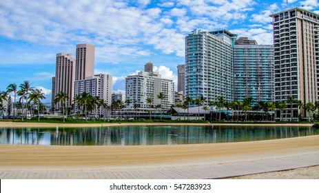 Honolulu, Hawaii. Waikiki beach and Honolulu's skyline.