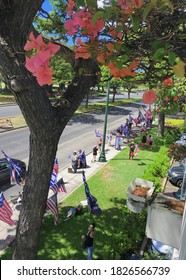 Honolulu, Hawaii/United States - October 3rd, 2020: Trump supporters rallying outside of Ala Moana Center.
