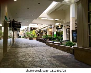 Honolulu, Hawaii/United States - September 19th, 2020: An empty Ala Moana Center during COVID-19 shutdown