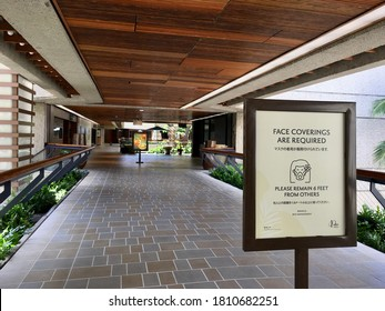 Honolulu, Hawaii/US - September 7, 2020: Closure of Royal Hawaii Center during COVID19 lock down.