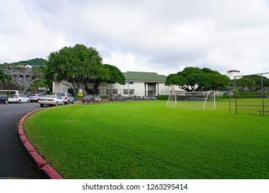 HONOLULU, HI -12 DEC 2018- View of  the campus of the famous Punahou School, a private K-12 school located in Honolulu, Oahu, Hawaii. Barack Obama is an alumnus.