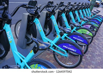 HONOLULU, HI -12 DEC 2018- View of blue Biki rental share bikes lined up on the street in Waikiki, Oahu, Honolulu, Hawaii.