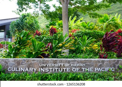 HONOLULU, HI -12 DEC 2018- View of  the campus of the Culinary Institute of the Pacific at the University of Hawaii at Manoa, a public university located in Honolulu, Oahu, Hawaii.