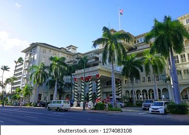 HONOLULU, HI -12 DEC 2018- View of the Moana Surfrider, A Westin Resort & Spa, a large hotel on Waikiki Beach, located in Honolulu, Oahu, Hawaii.
